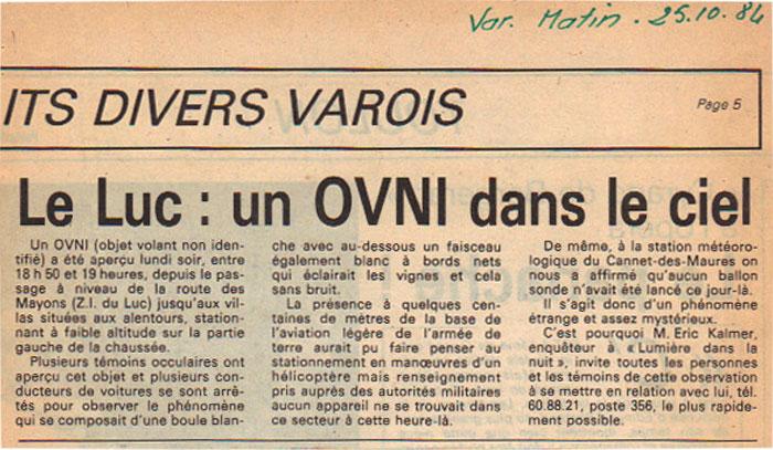 Un OVNI dans le ciel Lucois le 22 octobre 1984