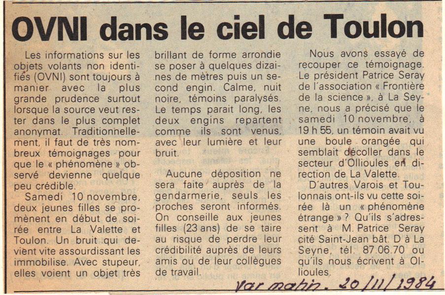 OVNI dans le ciel de Toulon – Journal Var Matin du 20 novembre 1984