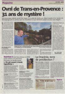 L'OVNI de Trans en Provence – Article Var Matin